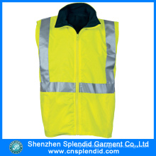 Custom Garment Light Yellow Reflective Safety Vest for Workmen