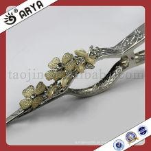 Cortina metálica prateada Curva decorativa Acessórios decorativos Gancho de cortina
