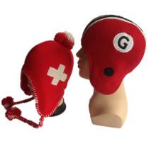 Nueva aleta de la computadora que hace punto los sombreros rojos y blancos de los niños del invierno de los muchachos de Earflap