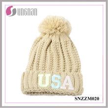 Sombreros luminosos fluorescentes de alta calidad 2016 de la lana de la letra del bordado de la alta calidad