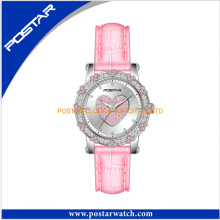 Leather Band Heart Decoration Dial Analog Watch for Ladies