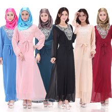 Vente chaude plus la taille abaya robe dubai musulman abaya à manches longues en mousseline de soie matériel islamique vêtements