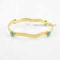Erstaunliches grünes Amazonit-Armband, 18k Gold-Edelstein-Armband-Schmucksachen für Frauen