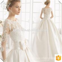 Nuevo diseño Bateau Neckline vestido de novia de raso vestido de bola con la mariposa 2017