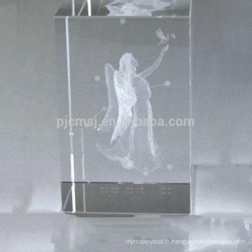 Beau cube en cristal laser 3D pour cadeau d'affaires et décoration