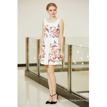 Latest Fashionable Symmetrical Floral Placement Print Swing Skater Ponte Dress