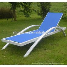 Outdoor beach furniture metal sun lounger blue fabric chaise lounge