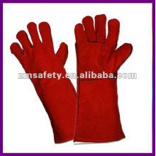 """14"""" Красный длинный кожа безопасности сварки перчатки ZMR101"""