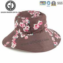 2016 New Ladies Fashion Big Brim Reversible Flower Bucket Hat
