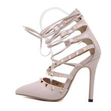 Классические туфли мода заклепки высокого обувь полые лето сандалии