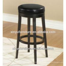Taburete redondo otomano negro de madera de vinilo XYH1014