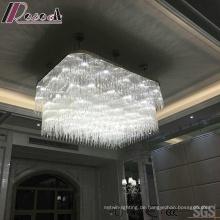 Weiße quadratische dekorative Kristallpendelleuchte mit Hotel-Projekt