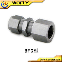 stianless steel hexagon bulkhead female connector tube fitting for gas