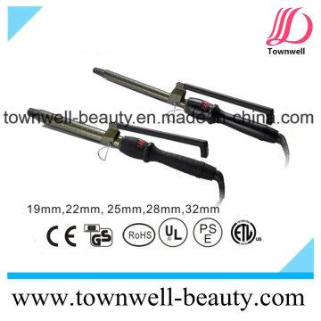 Titanio LCD Digital cabello curling hierro con diferentes tamaños de barril
