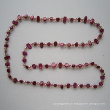 2015 Bijoux en coquillage et en cristal, bijoux fantaisie, collier de mode