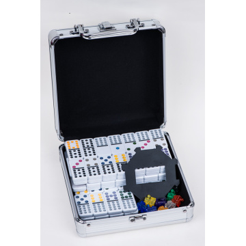 Double 12 plastic domino In Aluminum Case