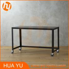 Tableau de console de roulement en métal noir de carbone de bureau / meubles à la maison