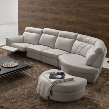 L-Shape Läder Seks Salong Lounge Soffa Set
