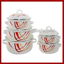 set of 5 enamel cooking pot 673D with enamel lid