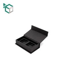 Boîte-cadeau magnétique noire faite sur commande d'habillement de cuir de faux