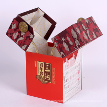 Nueva caja de embalaje de lujo modificada para requisitos particulares de la cartulina del regalo del papel del vino