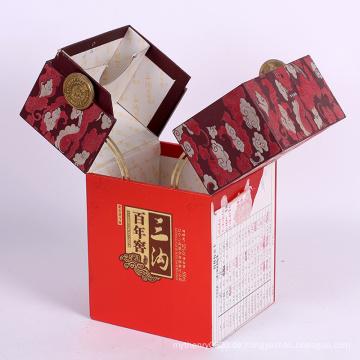 Kundengebundener neuer Luxuswein-Papier-Geschenk-Pappverpackenkasten