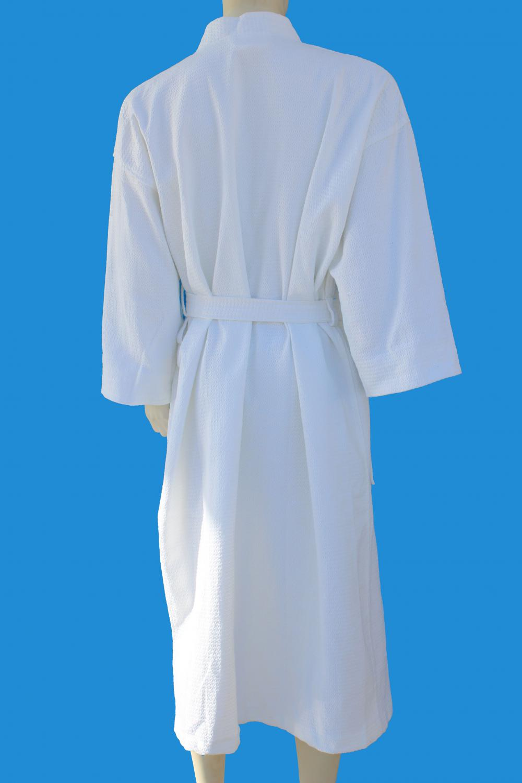 100%Cotton Waffle Diamond  Pattern Kimono White Luxury Bathrobe