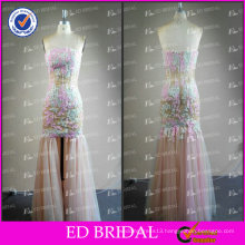 ED Unique Sexy Strapless Lace Appliqued Zipper Slit Front Tulle Evening Dress