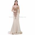 Exquisite ärmellose Champagner Farbe Mermaid Big Size Frauen Kleid Abendkleid