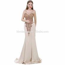 Exquisite Sleeveless Champagne Color Mermaid Big Size Women Dress Evening Dress