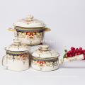 enamel casserole with glass lid and bakelite knob/ollas de peltre