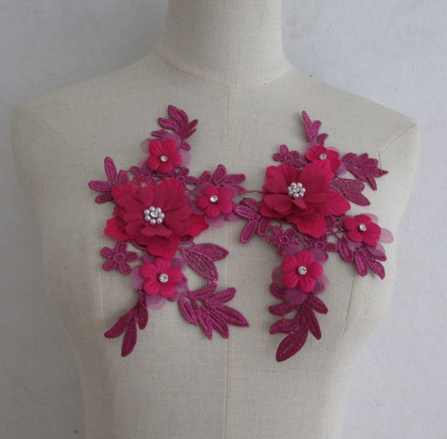 embroidery flower with beads&pearls