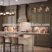 Projeto do armário de cozinha da laca da madeira de noz