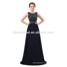 Latest design handmade beaded dark blue formal evening party gown