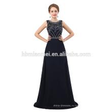 Последние дизайн ручной работы бисером темно-синий формальное вечернее платье