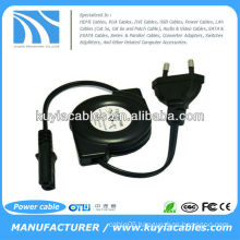 Europe 2pin retractable power cord for digital camera laptop