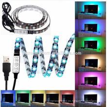 DC 5V negro PCB SMD5050 USB RGB LED Strip