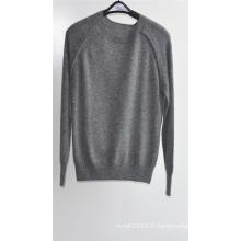 Hommes en rond chandail en tricot en pure couleur Pull