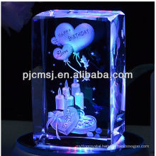 3d laser crystal cube with color LED light base for birthday gifts