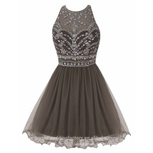 Sexy Alibaba Short New Designer Tulle O neck Party Dresses Or Evening Dress LC05