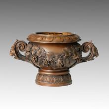 Vase Statue Grapes Flower-Basket Bronze Sculpture TPE-272