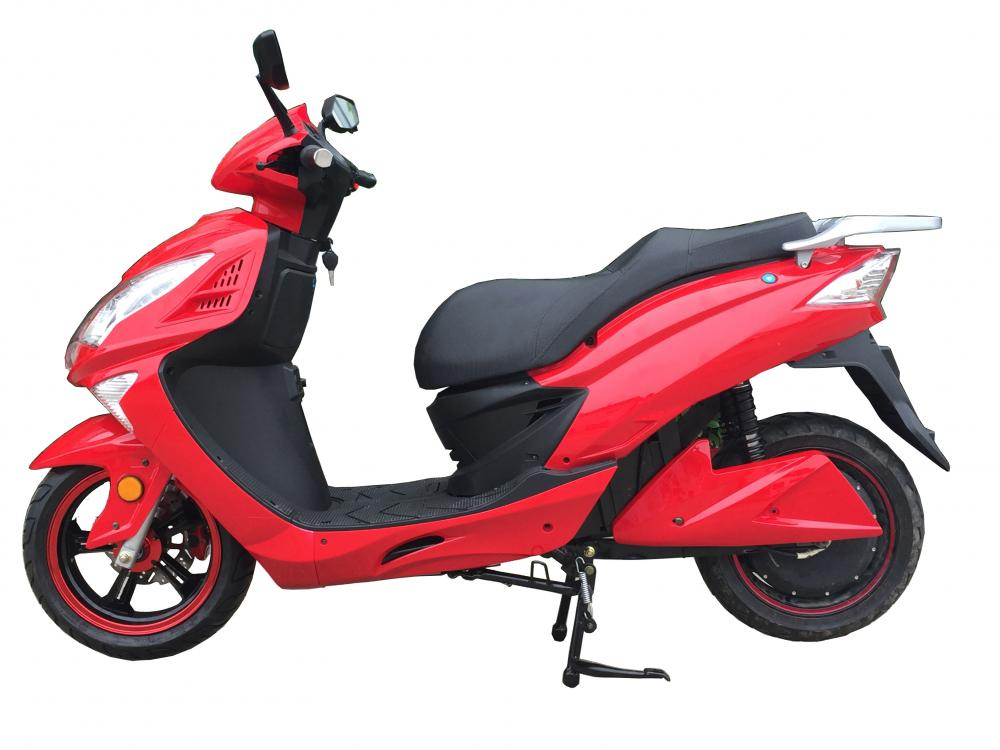 Bright red electric motorcycle