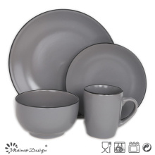 16PCS ROUND MATTE WITH BLACK RIM CERAMIC DINNER SET