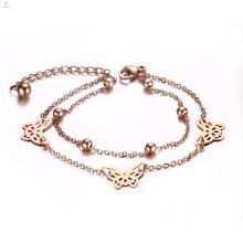 Presente de dia dos namorados aço inoxidável ip rose banhado a ouro charme borboleta pulseira
