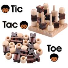 3D madeira Tic Tac toe jogo peças