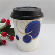 Copo de papel de parede do costume da impressão 6oz / copo de papel dobro do café / copo quente da bebida