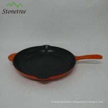 Orange color roasting pan cast iron skillet