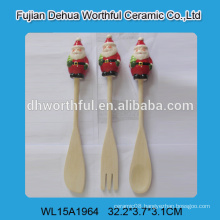 New design flatware set of wooden fork / spoon / scoop with santa shape