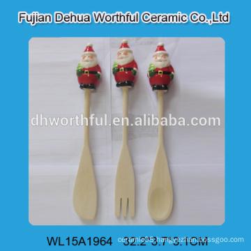 New design flatware set of wooden fork / spoon / scoop with santa shape