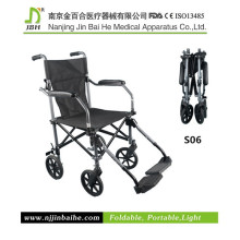Alumínio liga cadeira de rodas de mobilidade manual com pedal ajustável